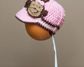 Monkey Baseball Cap (Newborn - Children Size) (Made to Order)