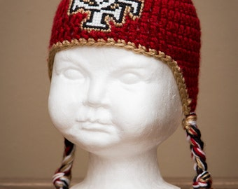 San Francisco 49ers Inspired Crocheted Ear Flap Hat (Newborn - Children Size) (Made to Order)