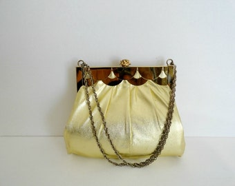 Vintage 40s Luxury  Gold Lame  Purse/Gold Cocktail Chain Handbag|Gold  Evening Purse with Pink Wallet
