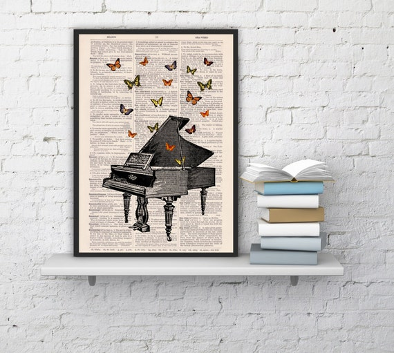 Butterflies over piano collage Print on Vintage Dictionary  page - book art print BPBB086