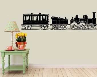 long Train Set vinyl Wall DECAL- custom locomotive, classic americana, sticker art, kids room