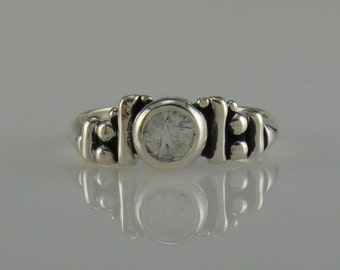 Sterling Silver White Sapphire Ring- One of a Kind