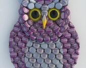 Owl Art Metal Bottle Cap Purple Owl Wall Art with Grape Soda Nugrape Bottlecaps