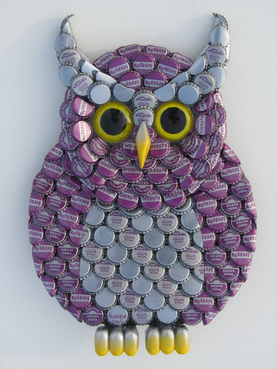 Items similar to owl art metal bottle cap purple owl wall for Bottle top art projects