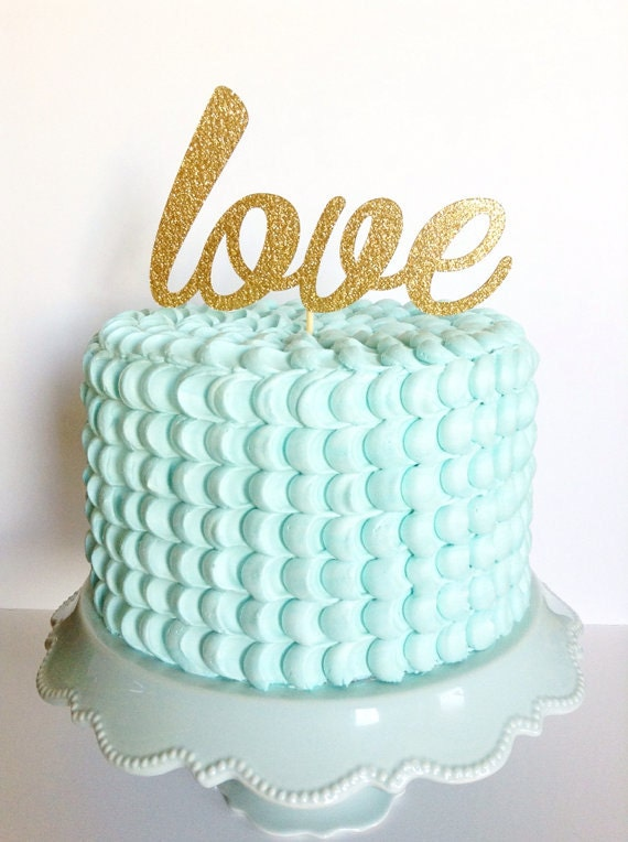 love gold script wedding cake topper items similar to personalized gold glitter cake 16951