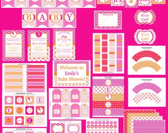 Deluxe Sherbet Hot Pink & Orange Baby Shower PRINTABLE Party Package  It's a girl Chevron polka dots DIY Party Decorations