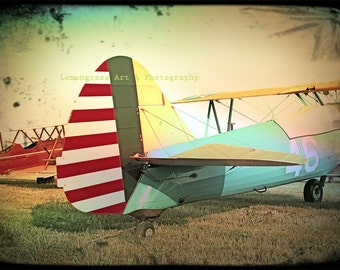 Airplane Photography, Fine Art Print, Red Stripes, Antique Airplanes, Biplanes, Aircraft, Aviation Wall Art, Colorful Wall Decor