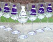 1 bridesmaid dress wine glasses, name over the dress, date and title on the base, your choice of colors. Bridesmaid gift, Bridesmaids gifts