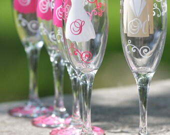 Dress and tux flutes, Champagne glasses for wedding party.  Personalized groomsman and bridesmaids gifts. Hot pink and ivory. Dress, vest