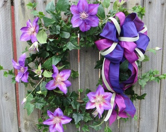 Spring Door Wreath - Clematis Wreath - Spring Wreath with Purple Clematis blooms - Purple Wreath, HornsHandmade - READY TO SHIP