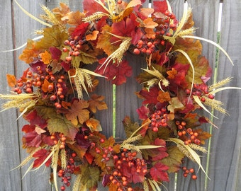 Fall Wreath - Fall / Autumn Wreath - Fall Wreath in Natural Colors with Berries and Wheat