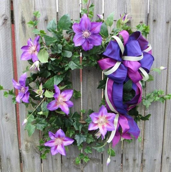 Spring Door Wreath - Clematis Wreath - Spring Wreath with Purple Clematis blooms - Purple Wreath, HornsHandmade - READY TO SHIP