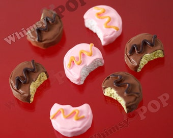 5 - Cupcake Cabochons, Cake Cabochons, Brown Pink Kawaii Iced Cupcake Resin Decoden Flatback Cabochons, 12mm x 16mm (R6-084)