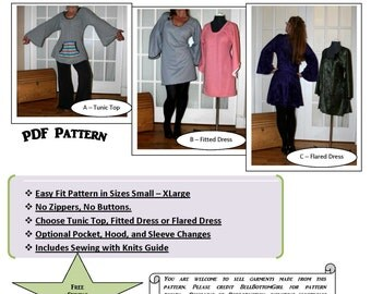 Tunic Top or Dress Women's Printable Sewing Pattern and PDF Sewing Tutorial