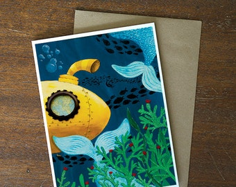 Greeting Card - whimsical yellow submarine underwater scene mermaids blank card - by Paper Taxi