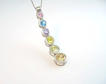 Crystal Pendant Necklace. Wedding Jewelry. Bridal Bridesmaid Necklace. Sterling Silver. Pastel Rainbow. Vintage 1980s Modernist Jewelry