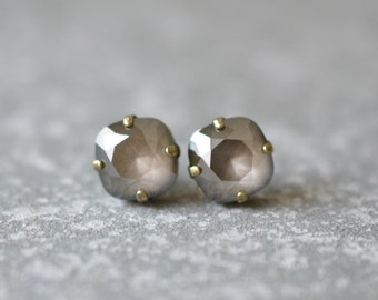 Smokey Gray Mocha Opal Earrings Smoke Gray Studs Rounded Square Vintage Swarovski Crystal Gray Brown Stud Earrings