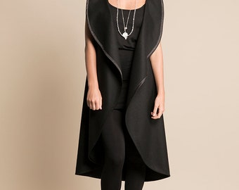 NAMOI |  Long Wool Cashmere Vest - Black