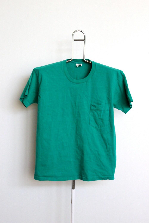 Soft Green Plain Pocket Gap T Shirt Mens By Beachwolfvintage