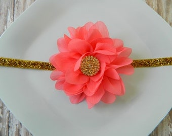 Coral & Gold Headband- newborns, babies, girls, women