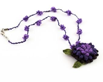 Necklace-Nature Inspired Crochet Flower Pendant Necklace,Fiber Art,Purple,Crochet Beadwork Jewelry,Textile Statement Jewelry