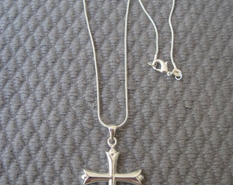 Touch of Class Sterling Silver Cross Pendant on Snake Chain