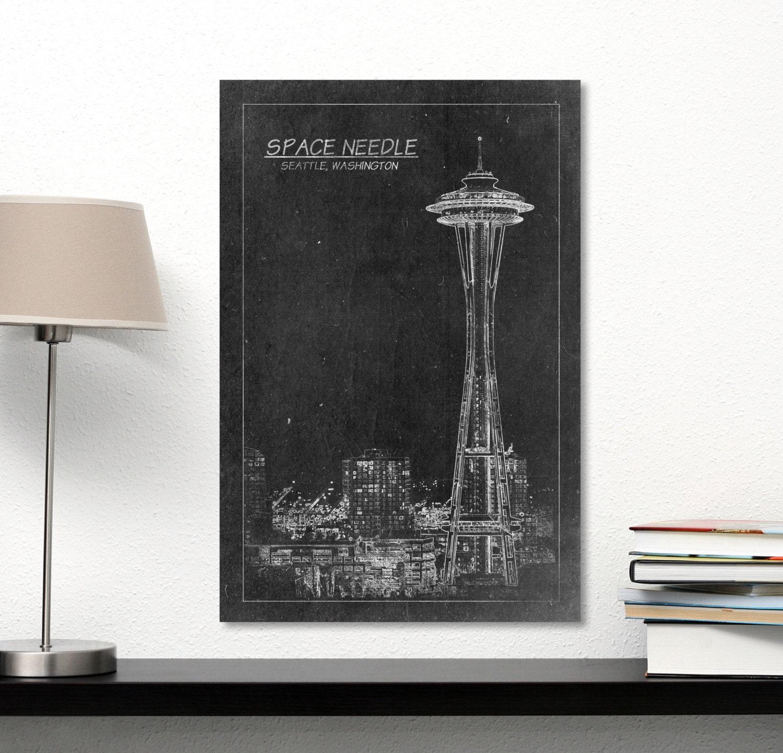 Space Needle Tower Blueprint Print on Canvas Seattle Washington ...