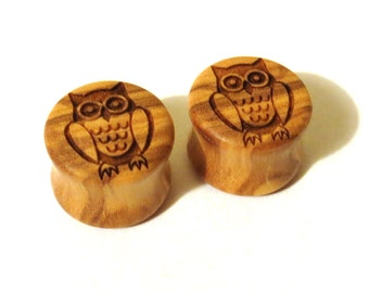 "Owl Olivewood Wooden Plugs - PAIR - 2g (6.5mm) 0g (8mm) 00g (9mm) (10mm) 7/16"" (11mm) 1/2"" 13mm 9/16"" 14mm 16mm 19mm and up Wood Ear Gauges"