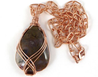 Wire Wrapped Gemstone Necklace, Flame Agate Necklace, Copper Wire Wrapped Jewelry