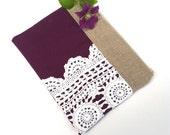 Eggplant Purple Linen Burlap Vintage Doily Zipper Clutch - Purple Wedding Gift - Bridesmaids Clutch