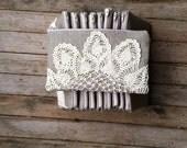 Bridesmaid Gift - Linen Burlap Clutch Vintage Doily
