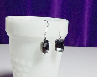 Pewter Gray Rhinestone Drop Earrings, Valentines Mothers Day Christmas Mom Sister Grandmother Bridesmaid Birthday Jewelry Gift