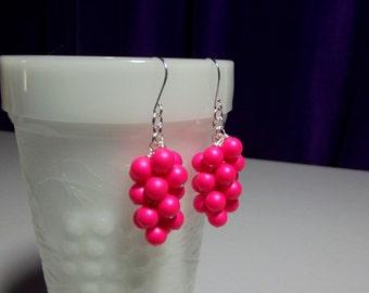 Swarovski Hot Pink Fuschia Cluster Earrings, Mom Sister Grandmother Bridesmaid Jewelry Gift, Wedding Jewelry Bridesmaid Earrings