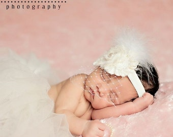 Birdcage Veil Headband .. Shabby Chic ..   Vintage Christening Headband ..Baptism .. Shabby Roses Pearls