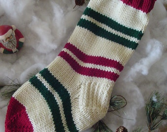 A-Christmas Stocking, CHRISTMAS IN JULY, Handknit Christmas Stocking Victorian Red, Dark Green and Off White, Handmade Stocking- Collectible