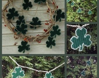 Saint Patrick's Day Irish 10 Shamrock banner garland home wall decor made from plastic canvas and crocheted twine