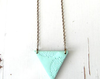 Mint Triangle pendant Necklace , Geometric Necklaces , modern jewelry