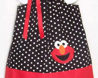 Elmo Pillowcase Dress / Sesame Street / Character / Black & White Dots / Girl / Infant / Baby / Toddler / Kids / Custom Boutique Clothing
