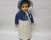 Blue velvet and periwinkle regency dress, jacket, bonnet, and shoes