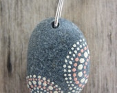 Small Pink and Ivory Dots Beach Stone Necklace