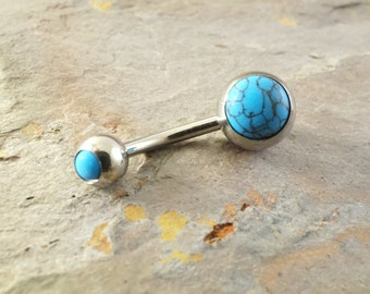 Turquoise Gemstone Belly Button Ring Jewelry