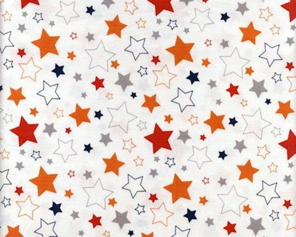 Boy stars fabric riley blake orange red gray navy for Star fabric australia