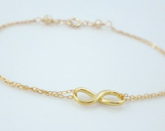 Gold filled double chain infinity bracelet, sterling silver infinity bracelet, friendship bracelet