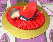 Superman superhero Baby Cake Topper Made of Vanilla Fondant Ready to be the center of attention on your cake. Showers, Birthdays Celebration