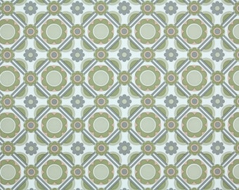 Retro Wallpaper by the Yard 70s Vintage Wallpaper - 1970s Green White and Gray Geometric Flowers