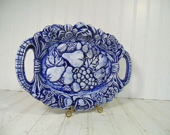 Blue China Oval Platter with Handles - Vintage 1975 Kreider Sisters Pottery Mark Serving Piece TableWare Plate - Fruit & Flowers Carved Tray