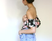80s Floral Summer Crop Top. Mini Silk Lingerie Flower Crop. Black Floral Off The Shoulder Crop Top