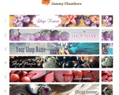 Shop icon and Etsy cover photo, Beaded Jewelry Banners Stones Beads, Basic Etsy Graphics set