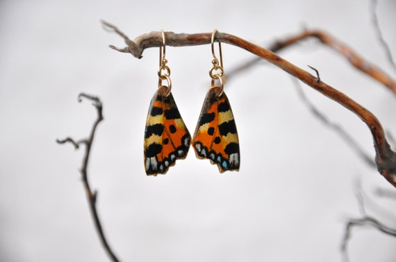 Small Tortoiseshell Butterfly Wings Earrings - Carved Walnut Hardwood & Hand Painted - 14 Karat Gold Filled Findings