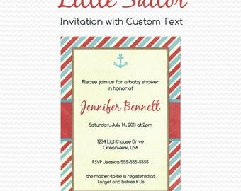 Nautical Baby Shower Invitation, Nautical Birthday Party Invitation, First Birthday Invite, Boy -- Printable File